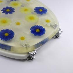 Toilettensitz / Wc Deckel / Toilettendeckel Klobrille Klodeckel Blumen blau gelb
