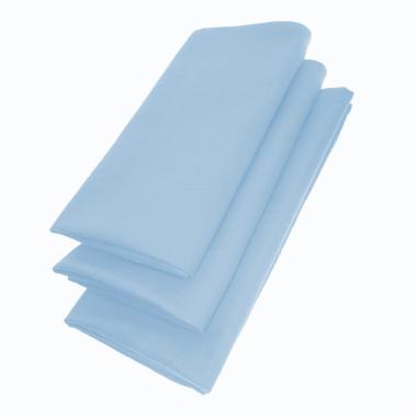 3er Pack Servietten 44cm x 44cm aus 100% Baumwolle in Hellblau