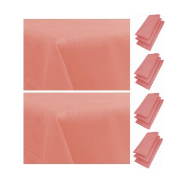 12er Pack Servietten 44cm x 44cm + 2x Tischdecke 100% Baumwolle in Rosa