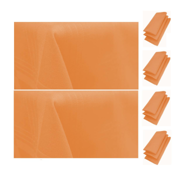12er Pack Servietten 44cm x 44cm + 2x Tischdecke 100% Baumwolle in Apricot