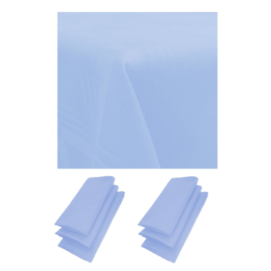6er Pack Servietten 44cm x 44cm + Tischdecke 100% Baumwolle in Hellblau / Blau