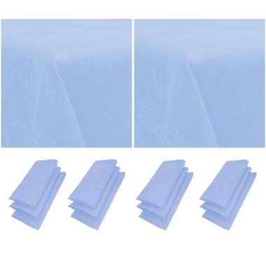12er Pack Servietten 44cm x 44cm + 2x Tischdecke 100% Baumwolle in Hellblau / Blau