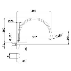 Wandausleger / Wandarm / Wandanschluss Messing verchromt - ca. 35 cm schwenkbar