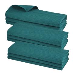 9x Geschirrtuch 100% Baumwolle Waffel-Piqué Küchentuch Putztuch Blaugrün Petrol