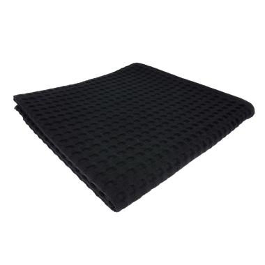 Handtuch Gästetuch in Waffel Pikee 100 x 50 cm aus Baumwolle / Pique Wabengewebe schwarz
