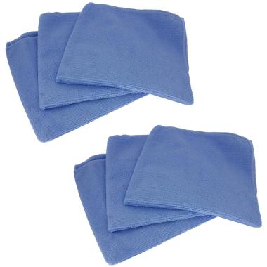 6x Profi Mikrofasertücher Poliertücher Reinigungstücher Auto Lack blau 40x40cm