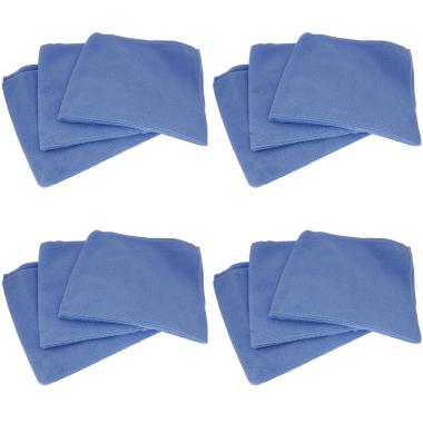 12x Profi Mikrofasertücher Poliertücher Reinigungstücher Auto Lack blau 40x40cm