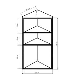Edelstahl - Eck-Spiegelschrank / Badschrank - 3-lagig - ca. B 30 x H 60 x T 17,5 cm