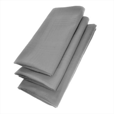 3er Pack Textil Servietten 45 x 45cm 100% Baumwolle 4 seitig eingesäumt Grau