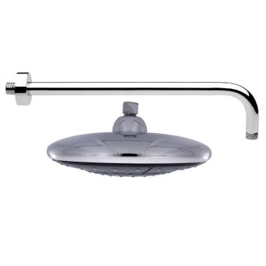 UFO- Regendusche Ø 24 cm mit 40 cm Wandarm, 102 Düsen, rund, Oberseite verchromt, Antikalkfunktion