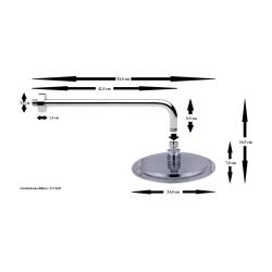 Regendusche Ø 24 cm mit Wandarm, 108 Düsen, rund, verchromt, Antikalkfunktion