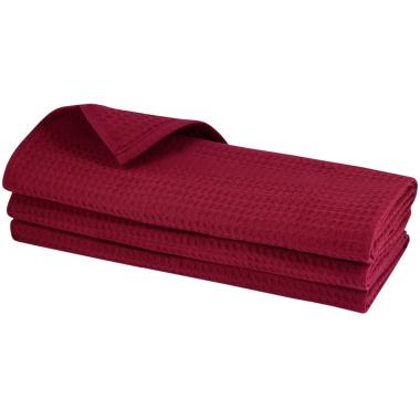 3er-Pack Baumwolltücher in Bordeaux, hochwertige Geschirrtüchert, aus 100% Baumwolle, mit Waffelpique-Webmuster, Größe: 70x50 cm, Putztücher, Poliertücher, Handtücher