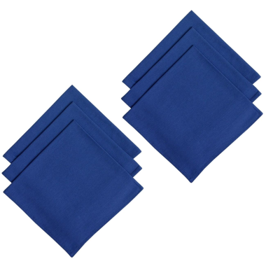 6er Pack Servietten 45cm x 45cm aus 100% Baumwolle in Blau