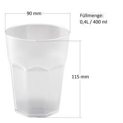 9x Kunststoffbecher Trinkbecher Plastikbecher Trink-Gläser Mehrweg 0,4l Orange