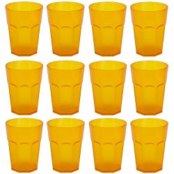 12x Kunststoffbecher Trinkbecher Plastikbecher Trink-Gläser Mehrweg 0,4l Orange