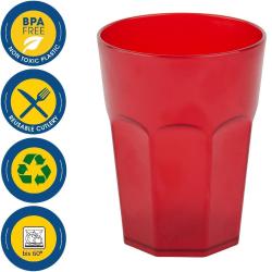 6x Kunststoffbecher Trinkbecher Plastikbecher Trink-Gläser Mehrweg 0,4l Rot
