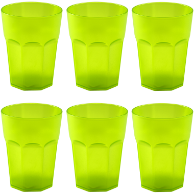 6x Kunststoffbecher Trinkbecher Plastikbecher Trink-Gläser Mehrweg 0,4l Grün