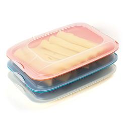 3x Stapelbare Aufschnittbox Frischhaltedose Wurst Behälter Aufschnittdose Rot