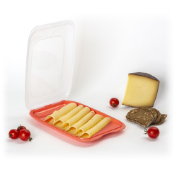 4x stapelbare Aufschnittbox Frischhaltedose Wurst Behälter Aufschnittdose Rot