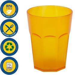 Kunststoffbecher Orange Trinkbecher Party-Becher Plastik Trink-Gläser Mehrweg 0,25l