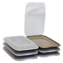 6x stapelbare Aufschnittbox Frischhaltedose Wurst Behälter Aufschnittdose Braun