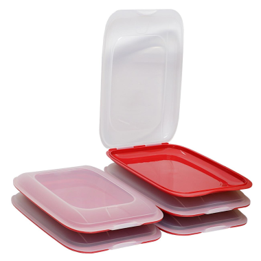 5x stapelbare Aufschnittbox Frischhaltedose Wurst Behälter Aufschnittdose Rot