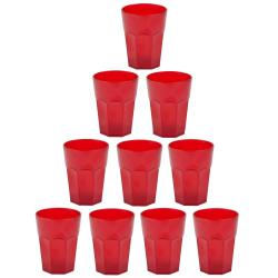 10x Kunststoffbecher Rot Trinkbecher Party-Becher Plastik...