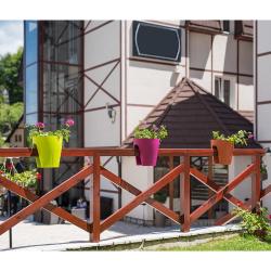 3x Blumentopf für Geländer Blumenkasten Geländerkasten Balkonkiste in rot
