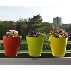 3x Blumentopf für Geländer Blumenkasten Geländerkasten Balkonkiste in apricot