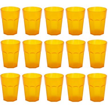 15x Kunststoffbecher Trinkbecher Plastikbecher Trink-Gläser Mehrweg 0,25l Orange