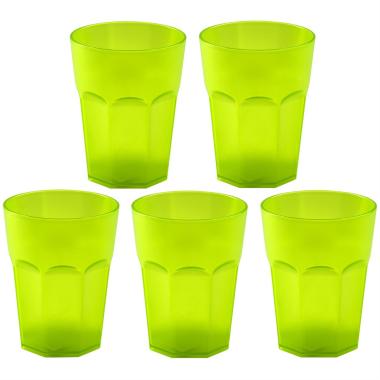5x Kunststoffbecher Grün Trinkbecher Party-Becher Plastik Trink-Gläser Mehrweg 0,25l