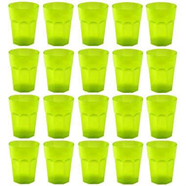 20x Kunststoffbecher Grün Trinkbecher Party-Becher Plastik Trink-Gläser Mehrweg 0,25l