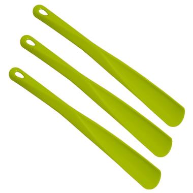 3x Schuhlöffel Schuhanzieher aus Kunststoff mit Öse 34 cm lang Farbe Grün