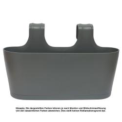 Blumenkasten oval Balkon Übertopf Pflanzkasten Blumentopf zum Hängen mit Wasserspeicher Farbe anthrazit