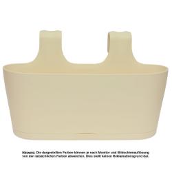 2x Blumenkasten oval Balkon Übertopf Pflanzkasten Blumentopf zum Hängen mit Wasserspeicher Farbe beige