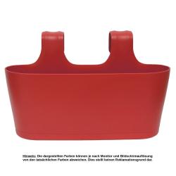3x Blumenkasten oval Balkon Übertopf Pflanzkasten Blumentopf zum Hängen mit Wasserspeicher Farbe rot