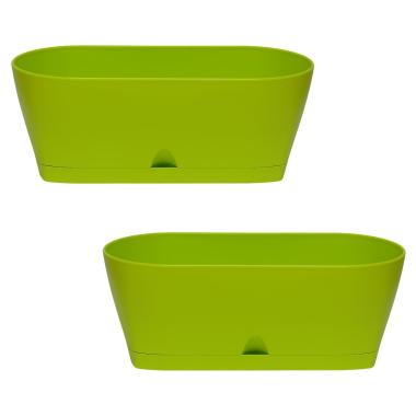 2x Blumenkasten Balkonkasten Pflanztopf für Garten Balkon und Tischdeko mit Wasserauffangschale Farbe grün