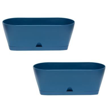 2x Blumenkasten Balkonkasten Pflanztopf für Garten Balkon und Tischdeko mit Wasserauffangschale Farbe petrol