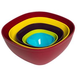 5 farbige Kunststoffschüsseln im Set für Garten Picknick verschiedene Farben
