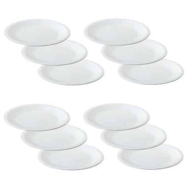 12 Mehrwegteller flach Beilagen Teller Picknick Garten Grill-Zubehör Mikrowellen und Spülmaschinenfest Farbe weiß