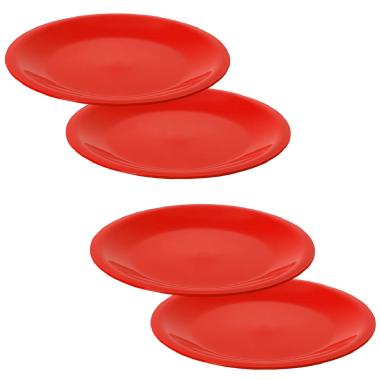 4 Mehrwegteller flach Beilagen Teller Picknick Garten Grill-Zubehör Mikrowellen und Spülmaschinenfest Farbe rot