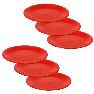6 Mehrwegteller flach Beilagen Teller Picknick Garten Grill-Zubehör Mikrowellen und Spülmaschinenfest Farbe rot