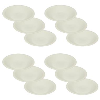 12 Mehrwegteller tief Beilagen Teller Picknick Garten Grill-Zubehör Mikrowellen und Spülmaschinenfest Farbe weiß