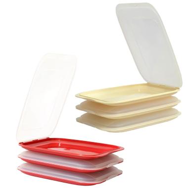 6x Rot Beige stapelbare Aufschnittbox Frischhaltedose Wurst Aufschnittdose