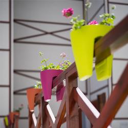 2x Blumentopf für Geländer Blumenkasten Geländerkasten Balkonkiste in Farbe sand