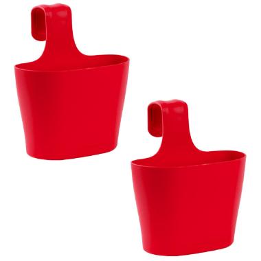 2x Blumenkasten oval 2,8 Liter Balkon Übertopf Pflanzkasten Blumentopf zum Hängen mit 1. Bügel und Wasserspeicher Rot