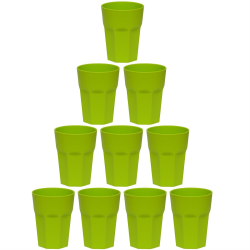 10x Kunststoffbecher Grün Trinkbecher Party-Becher Plastik Trink-Gläser Mehrweg 0,25l