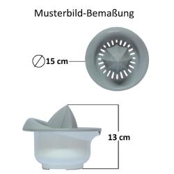 2x Zitronen-Zitrus-Saft-Hand-Presse Behälter Durchmesser: 15 cm Fassungsvermögen: 0,5 Liter Kunststoff grau
