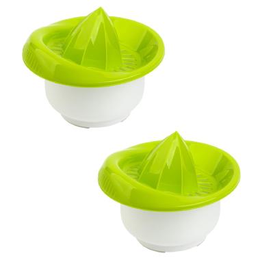 2x Zitronen-Zitrus-Saft-Hand-Presse Behälter Durchmesser: 15 cm Fassungsvermögen: 0,5 Liter Kunststoff grün