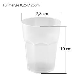 25x Kunststoffbecher Bunt Trinkbecher Party-Becher Plastik Trink-Gläser Mehrweg 0,25l
